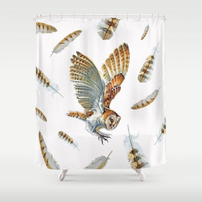 Barn Owl Landing  Shower Curtain