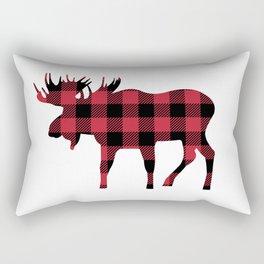 Moose Silhouette in Buffalo Plaid Rectangular Pillow
