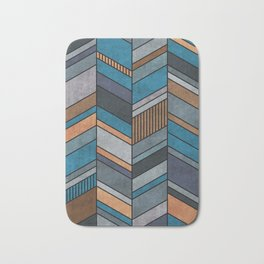 Abstract chevron pattern - blue, grey, brown Bath Mat
