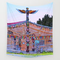 cabin Wall Tapestries featuring Totem Log Cabin by Alaskan Momma Bear