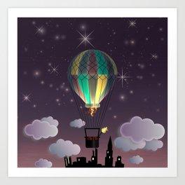 Balloon Aeronautics Night Art Print