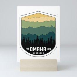 Retro Omaha Nebraska NE State Mountains Vintage Mini Art Print