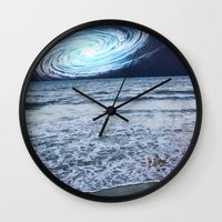 rileigh smirl Wall Clocks featuring Galaxy Sky by Rileigh Smirl