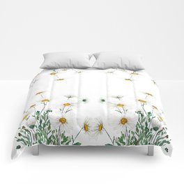 white Margaret daisy watercolor Comforters