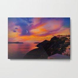 Santorini,Fira,Sunset Metal Print