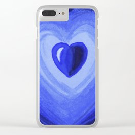 Blue heart Clear iPhone Case