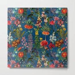 Vintage & Shabby Chic - Blue Midnight Spring Botancial Flower Garden Metal Print