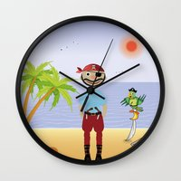 pirate Wall Clocks featuring Pirate by MyimagesArt