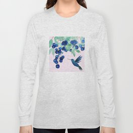 blueberry and humming bird Long Sleeve T-shirt