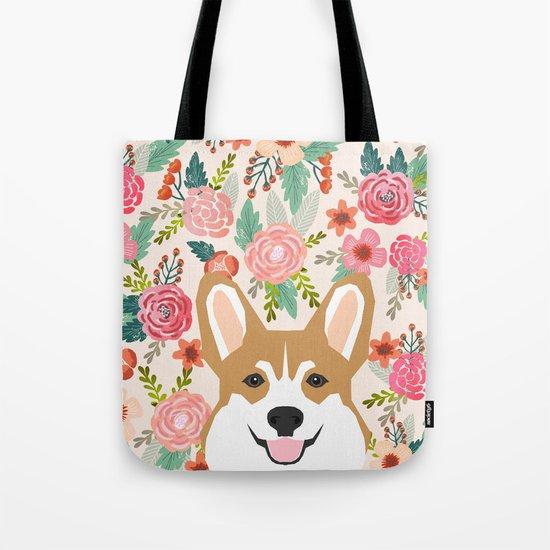 Welsh Corgi cute flowers spring summer garden dog portrait cute corgi puppy funny god illustrations Tote Bag