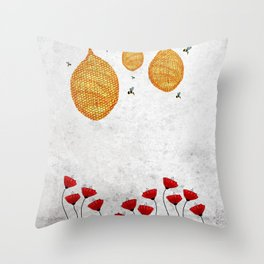 The Dance of the Honeybee Throw Pillow