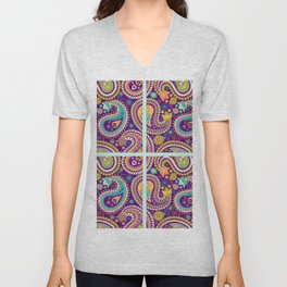 Checkered background with paisley pattern Unisex V-Neck