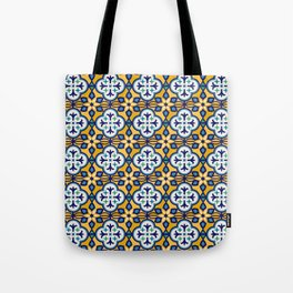 Yellow and Blue Moroccan Tile Tote Bag