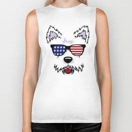 Westie Dog Face with American Flag Sunglasses Biker Tank
