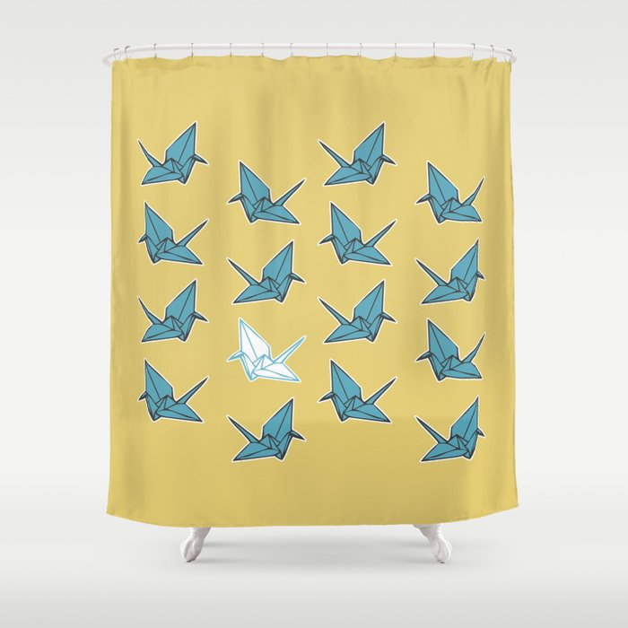 Paper Cranes Baby Blue And Yellow Shower Curtain By