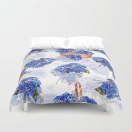 Cape Cod Hydrangeas and Baskets Duvet Cover