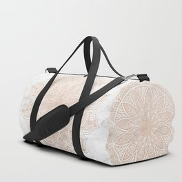 Mandala - rose gold and white marble 4 Duffle Bag