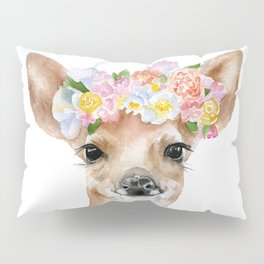 Deer Fawn Floral Watercolor Pillow Sham