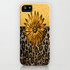 Animal Print Brown and Gold Animal Medallion iPhone SE Slim Case