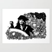 jack sparrow Art Prints featuring Jack Sparrow by Ink Tales