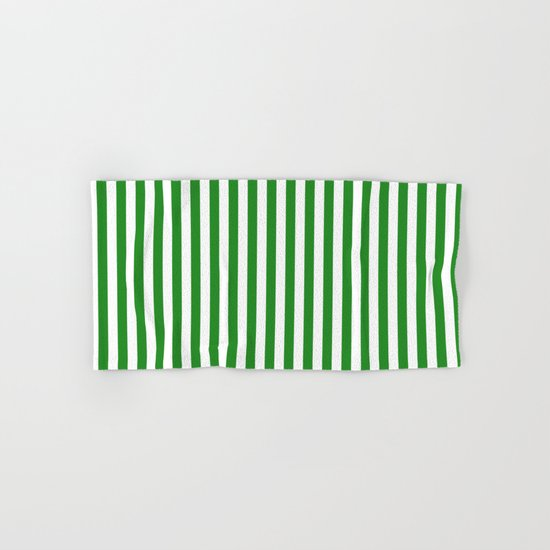 Vertical Stripes (Forest Green/White) Hand & Bath Towel