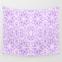 floral pattern Wall Tapestries featuring Lavender Floral Pattern by 2sweet4words Designs