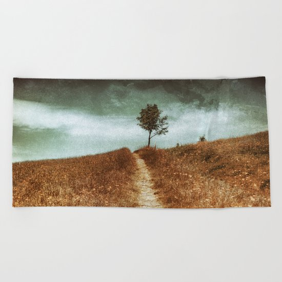 Tree On The Way Beach Towel