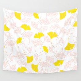 Pink Gingko Leaves, Yellow Gingko Leaves, Gingko Pattern Wall Tapestry