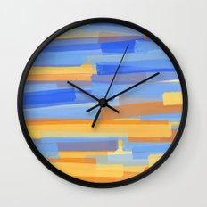 Orange and Blue Stripes Wall Clock