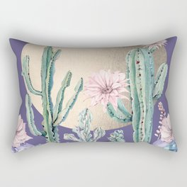 Desert Sun Cactus + Succulents Gold Deep Purple Rectangular Pillow