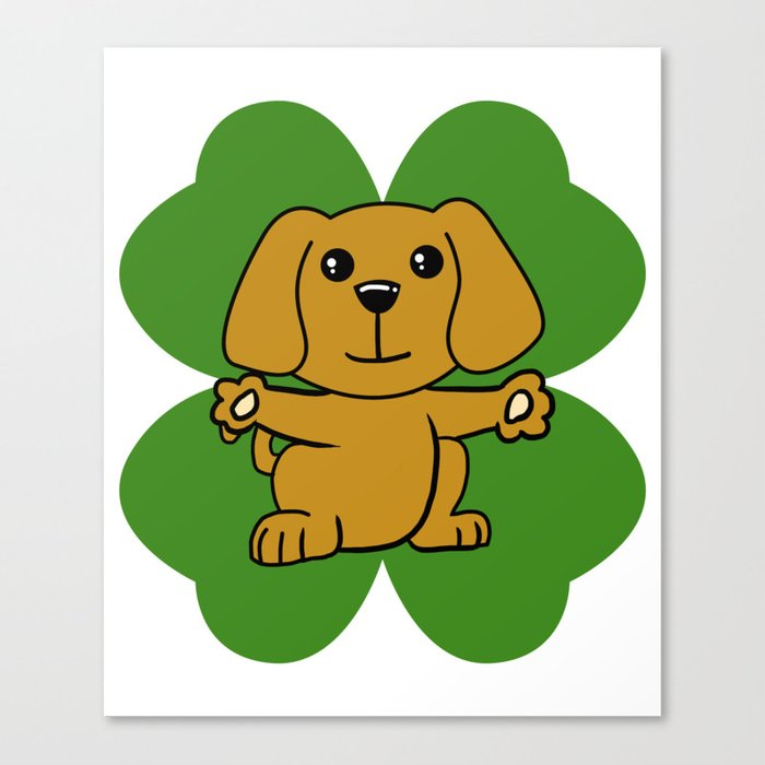 Dog On Four Leaf Clover St Patricks Day Funny Canvas Print By