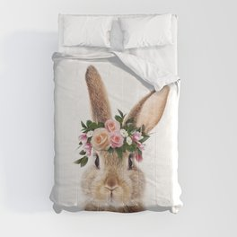 Baby Rabbit, Brown Bunny With Flower Crown, Baby Animals Art Print By Synplus Comforters