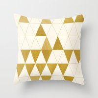 triangles Throw Pillows featuring My Favorite Shape by Krissy Diggs