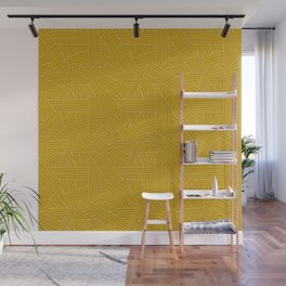 Crossing Lines in Mustard Yellow Wall Mural