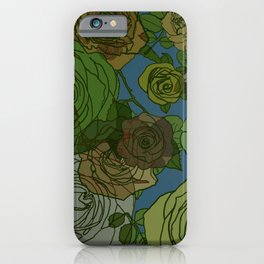 Roses Illustration in Green and Blue iPhone Case