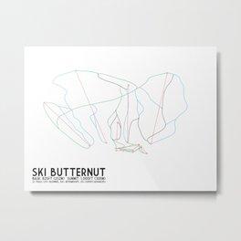 Ski Butternut, MA - Minimalist Trail Art Metal Print