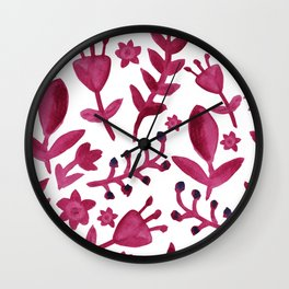 Abstract Watercolor Flowers Wall Clock