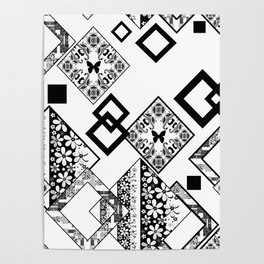 Black and white applique Poster