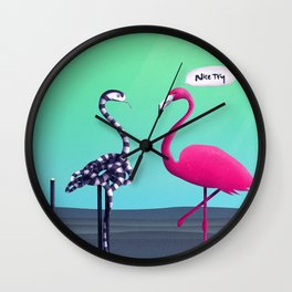 Nice Try, Flamingo! Wall Clock