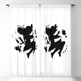 Alice in wonderland falling silhouette (black) Blackout Curtain