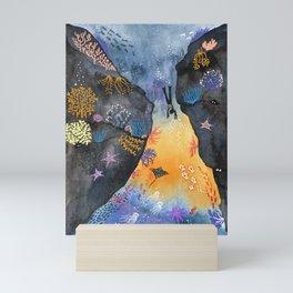 Journey of the deep sea dweller watercolor illustration Mini Art Print