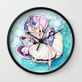 Sleepy Clams Wall Clock