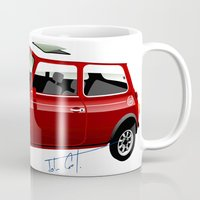 mini cooper Mugs featuring Classic Mini Cooper by car2oonz