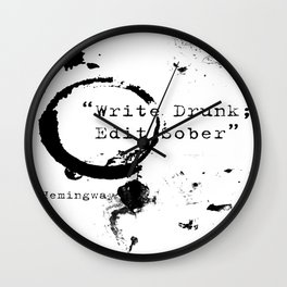 Hemingway Writing Quote Wall Clock