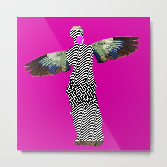 Statue statically PinkFlight Metal Print