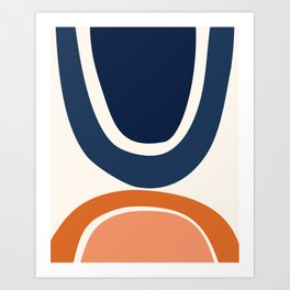 Abstract Shapes 24 in Burnt Orange and Navy Blue Art Print