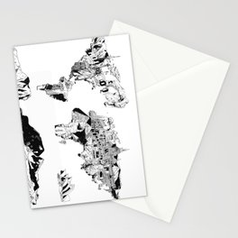 world map black and white Stationery Cards