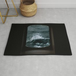 Wave out of a window of a ship – Minimalist Oceanscape Rug
