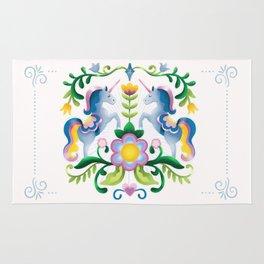 The Royal Society Of Cute Unicorns Light Background Rug