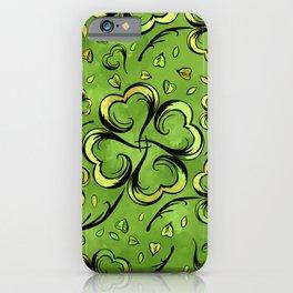 Irish Shamrock Four-leaf Lucky Clover Pattern iPhone Case